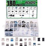 Keadic 180PCS USB 2.0, 3.0 Male Female Plug Jack Socket Connector Assortment Set, Including Micro USB Type B 5 Pin T Port Mal