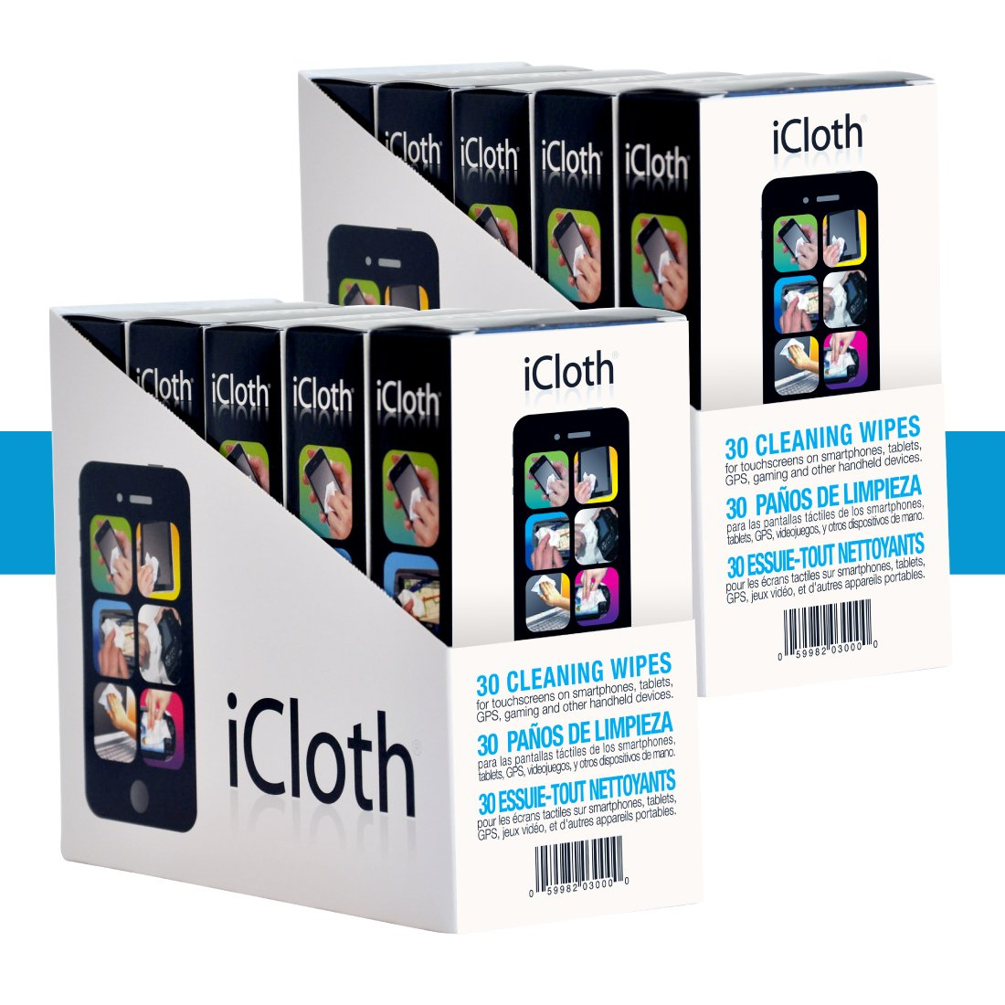 iCloth Small-Screen and Lens Cleaner | 10 x 30 wipe boxes pre-moistened and individually sealed - approved for optical clarity | iC30x10