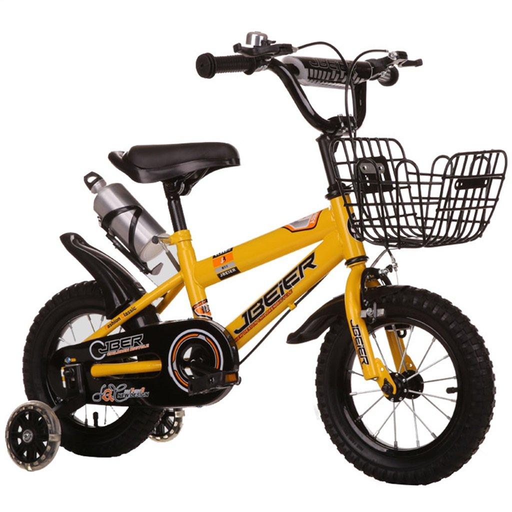 KANGR-子ども用自転車 子供の自転車3-6-8男の子と女の子子供のおもちゃ屋外マウンテンバイクのハンドルバーとサドルは、フラッシュトレーニングホイールで調整可能な高さにすることができますウォーターボトルとホルダー 12/14/16/18インチ ( 色 : イエロー いえろ゜ , サイズ さいず : 16-inch ) B07C9RNF9G 16-inch|イエロー いえろ゜ イエロー いえろ゜ 16-inch