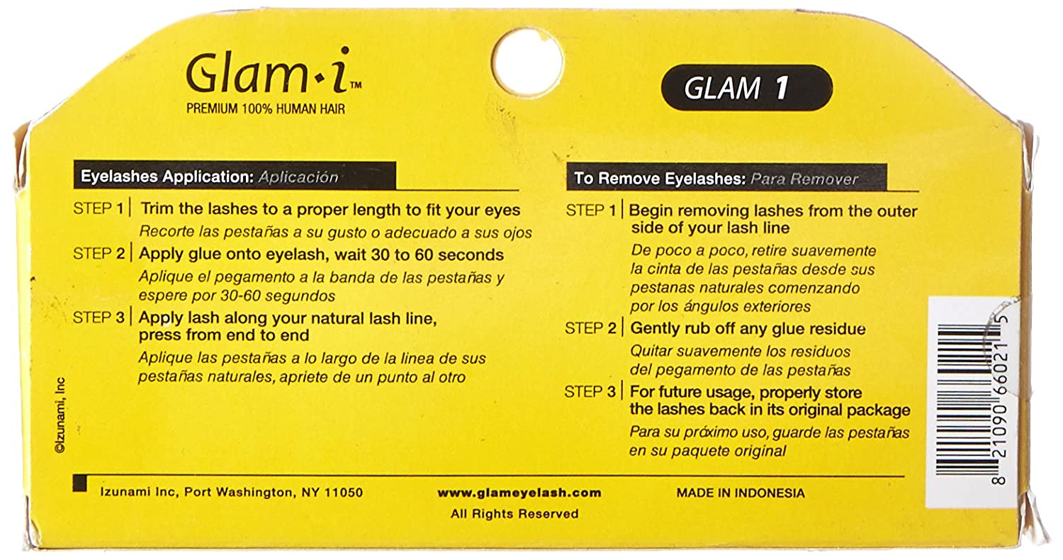 Amazon.com : Glam-I 1 Full Strip Human Hair Eyelashes, Black, 0.4 Ounce : Fake Eyelashes And Adhesives : Beauty