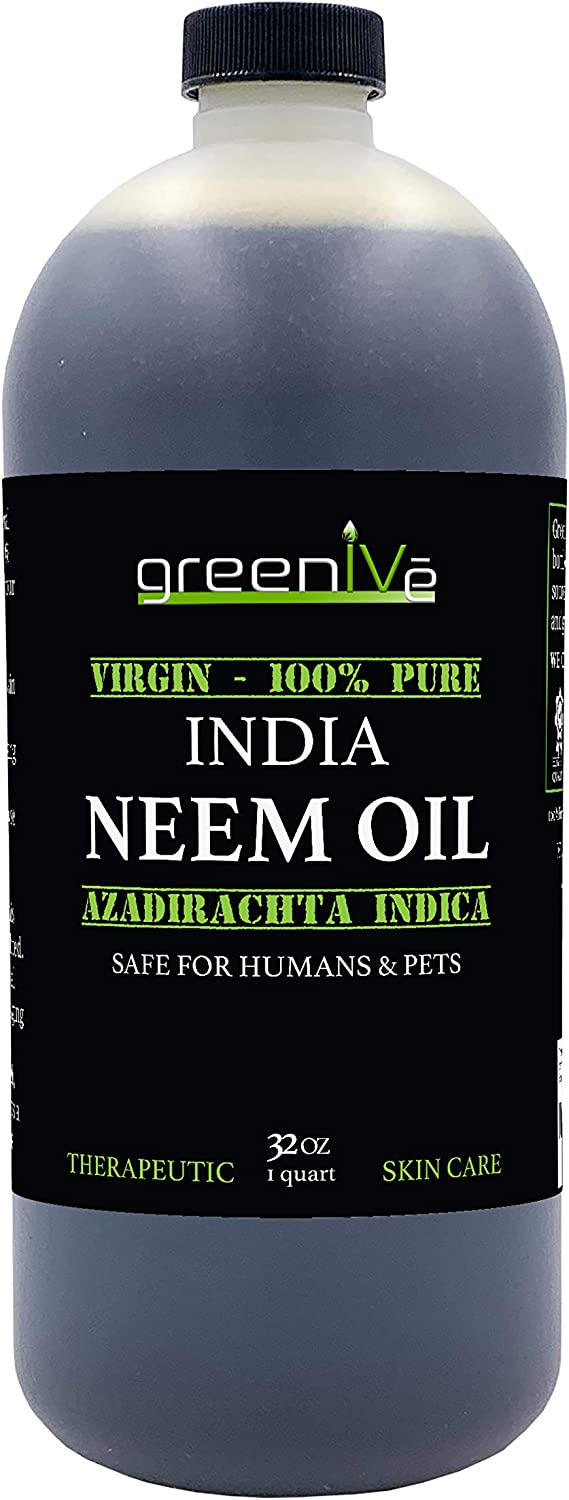 Greenive - Neem Oil - 100% Organically Grown Neem Oil - Cold Pressed Virgin Neem Oil - Exclusively on Amazon (32 Ounce)