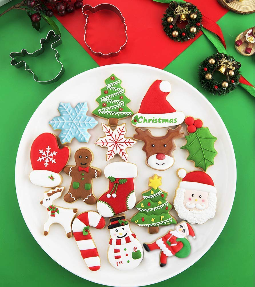 Biscuit Cutters Fondant Cake Decoration for Kids Stainless Steel Angel Gingerbread Man Snowflake Snowman Star Tree Reindeer Face Beer Bell House Shaped KAISHANE 14 Pieces Christmas Cookie Cutters