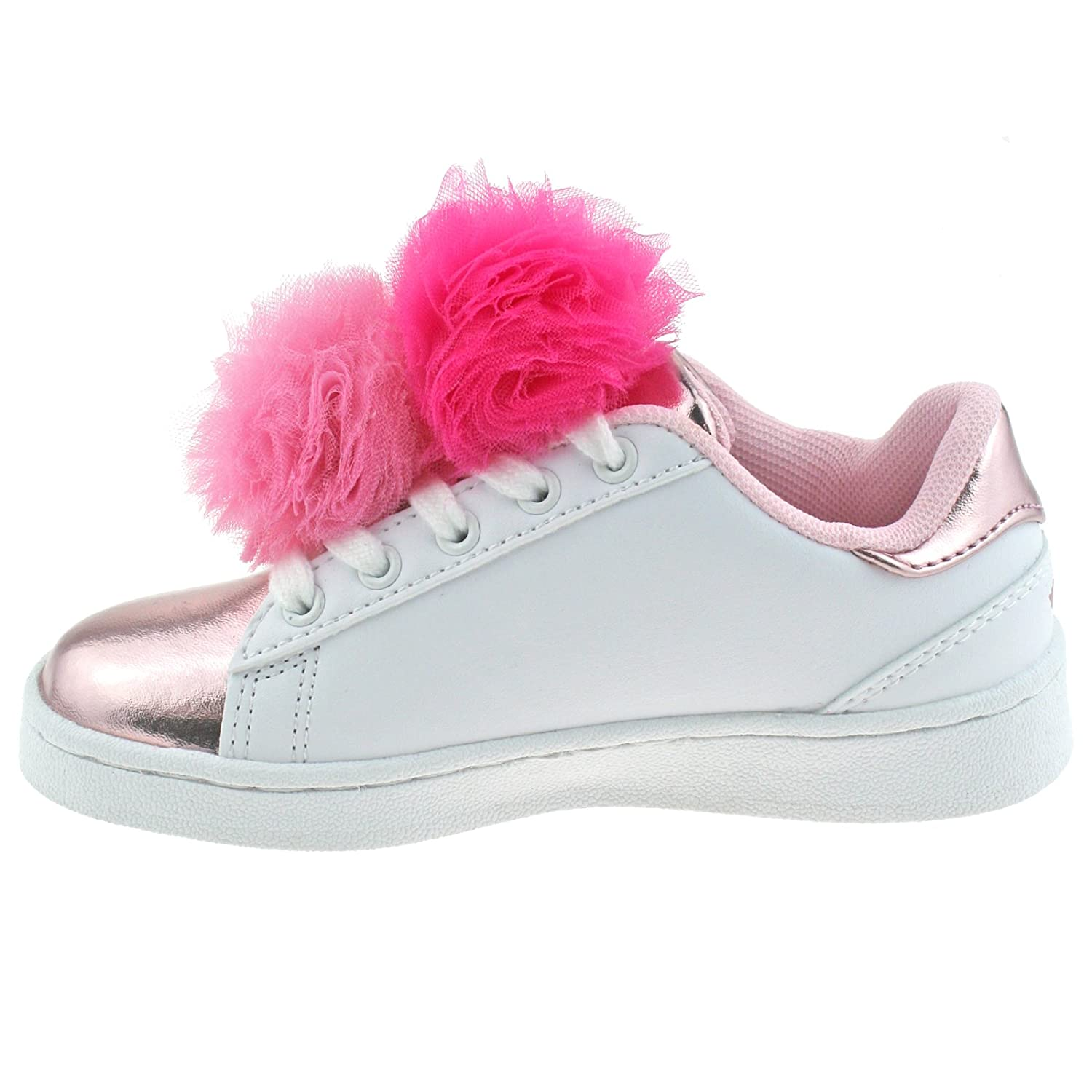 Lelli Kelly LK5826 (AA52) Bianco/Rosa Pon Pon Lace Up Trainer Shoes-33 (UK 1) rK4Crs