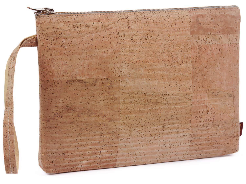 SIMARU Elegante Bolso de Mano hecho de moderno corcho / piel de corcho, bolsa porta-documentos con cremallera de alta calidad, monedero, neceser, cartera tamaño A5 en varios colores Unisex (beige)