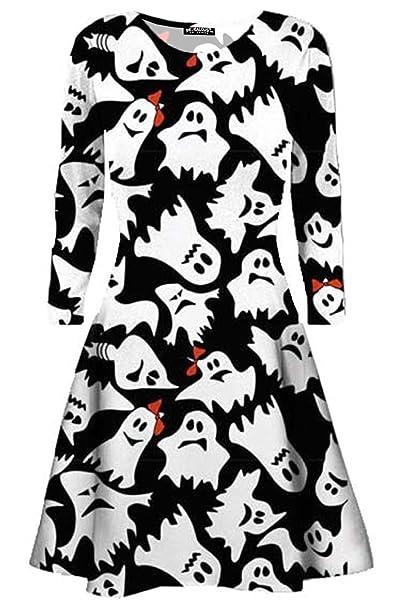 Oops OUTLET Mujer Halloween Fantasma Calabaza mujer manga larga disfraz Swing Mini Vestido - FANTASMA BLANCO