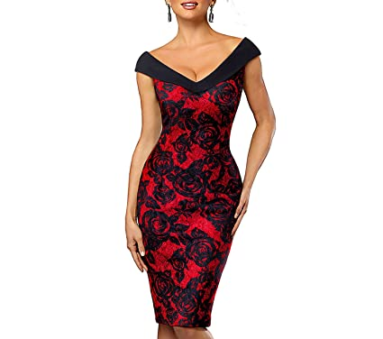 Women Dress Vintage Contrast Elegant Flower Sexy Off Shoulder Vestidos Business Bodycon Dress,Black and