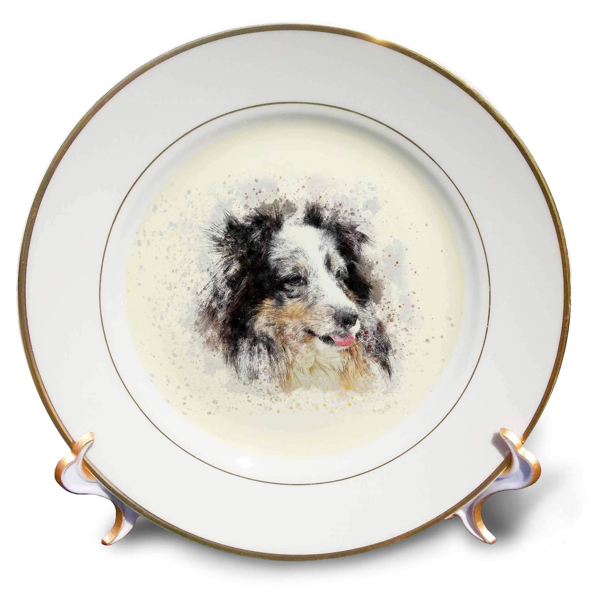 3dRose cp_272907_1 Trendy Cute Animal Dog Watercolor Illustration Dinner Plates, 8'', Clear