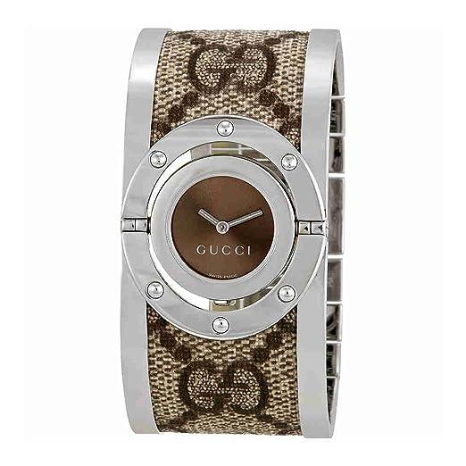 3a69f4d71cb Gucci Women s YA112425 Twirl Stainless Steel Bangle Watch with Fabric Band   Frida Giannini  Amazon.co.uk  Watches