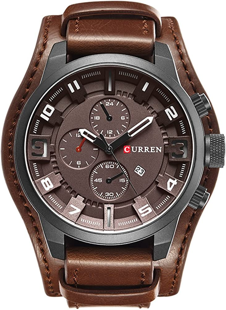 brown or black leather strap Men/'s leather strap wide leather strap and stainless steel metal band