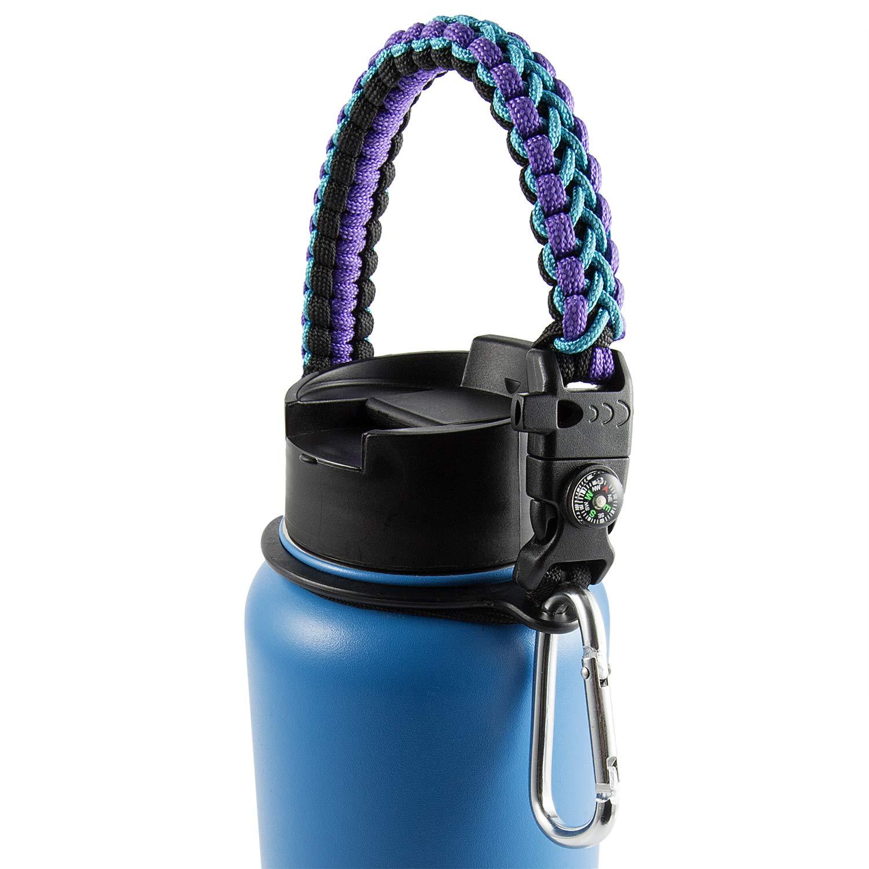 最終値下げ PAN パラコード ハンドル Blue/Purple/Compass ハイドロフラスク用 広口ボトル用 ボトルキャリア パラコード サバイバルストラップホルダー ハイドロフラスク用 安全リングカラビナ付き B07NRKRJVZ 12オンス-64オンススポーツウォーターボトルに対応 - 完璧なフラスコアクセサリー Blue/Purple/Compass B07NRKRJVZ, 大台町:217b967a --- a0267596.xsph.ru