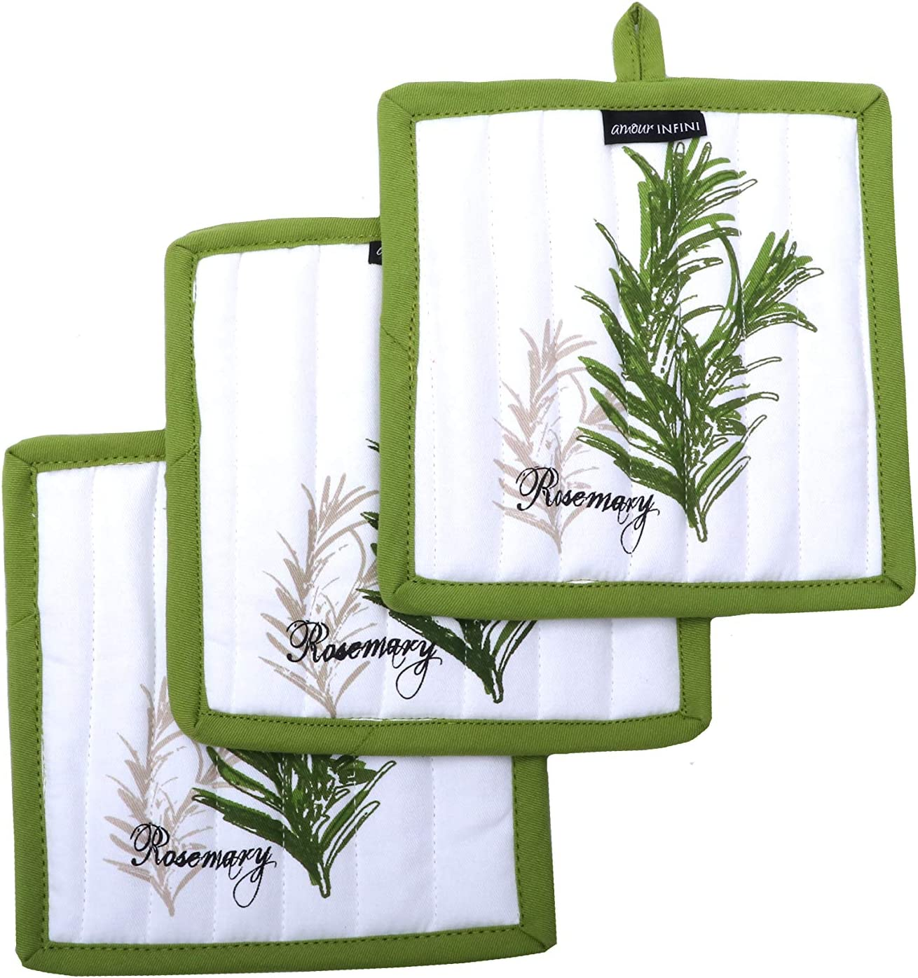 AMOUR INFINI Pot Holders, Unique Herb Garden Design, Pot Holders Heat Resistant, Made of 100% Cotton, Eco-Friendly & Safe, Set of 3, Pot Holder Size 8 x 8 inches, Pot Holders for Kitchen