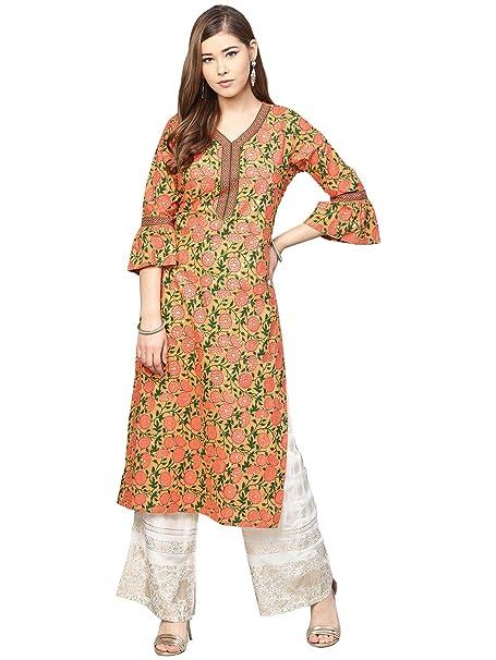 21f04edf11d Varanga peach floral printed straight kurta with bell sleeves ...