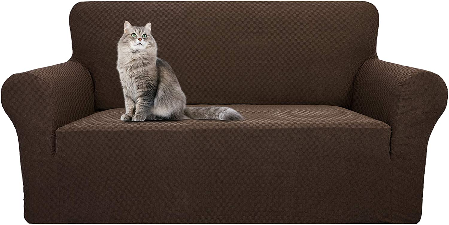YEMYHOM Couch Cover Latest Jacquard Design High Stretch Sofa Covers for 2 Cushion Couch, Pet Dog Cat Proof Loveseat Slipcover Non Slip Magic Elastic Furniture Protector (Loveseat, Dark Coffee)