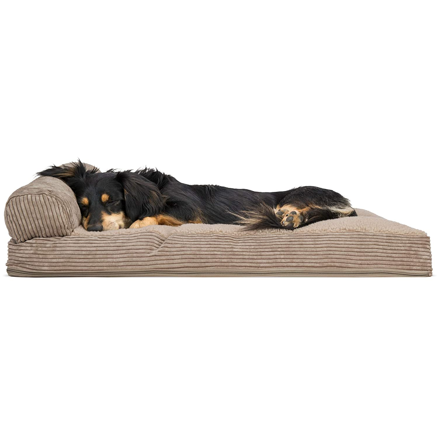 One Sided  Sandstone MediumFurhaven Pet Dog Bed   Quilted Fleece & Print Suede Chaise Lounge Pillow SofaStyle Pet Bed for Dogs & Cats, Espresso, Large