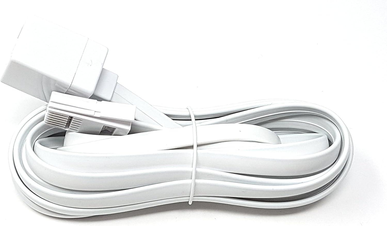 disponible en 2 m cable 6 BT macho a BT hembra 3 m 15 m 10 m Cable de extensi/ón de tel/éfono BT de color blanco para oficina y casa 5 m 20 m 3 m
