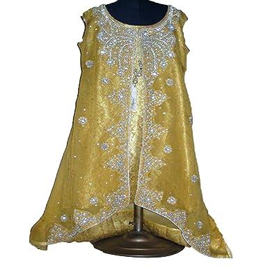Bridal Dresses For Women Fashion - 3 Piece Jamawar Gold Indian Wedding Dress, Medium