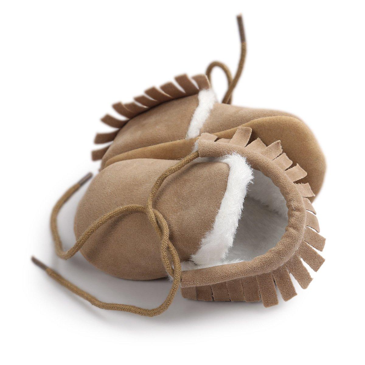 Tukistore Botines con Flecos Suave Suela Botas de Nieve ni/ñas Ni/ños Primeros Pasos Zapatos Calientes Prewalker de Suela Blanda Zapatillas Antideslizantes Scrub Botines de Bebe Invierno