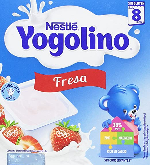 Nestlé Yogolino Postre lácteo con Fresa - Para bebés a partir de 8 meses - Paquete