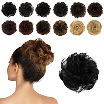 Amazon Feshfen 100 Human Hair Scrunchies 1 Jet Black Curly