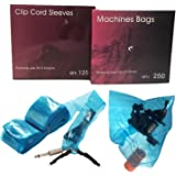 Aozzy Disposable Hygiene 125Pcs Tattoo Clip Cord Covers & 250Pcs Tattoo Machine Gun Bags Tattoo Kit Blue Color