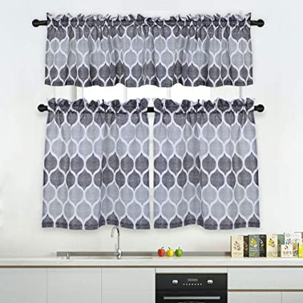 Haperlare 3 Pieces Kitchen Window Curtain Set Moroccan Tier Curtains And Valance For