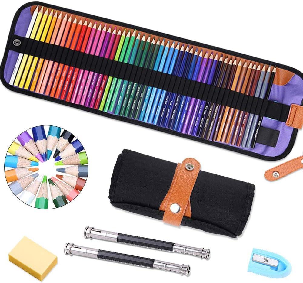 lápices de colores Pack de 50 Multicolor para Artistas,Adultos y Niños,lápices escolares de colores,Incluye 2/Extensor de lápiz,Un borrador