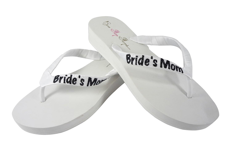 f06764d9eb0fe Amazon.com: Glitter Bride Flip Flops in White or Ivory Wedge Heel ...