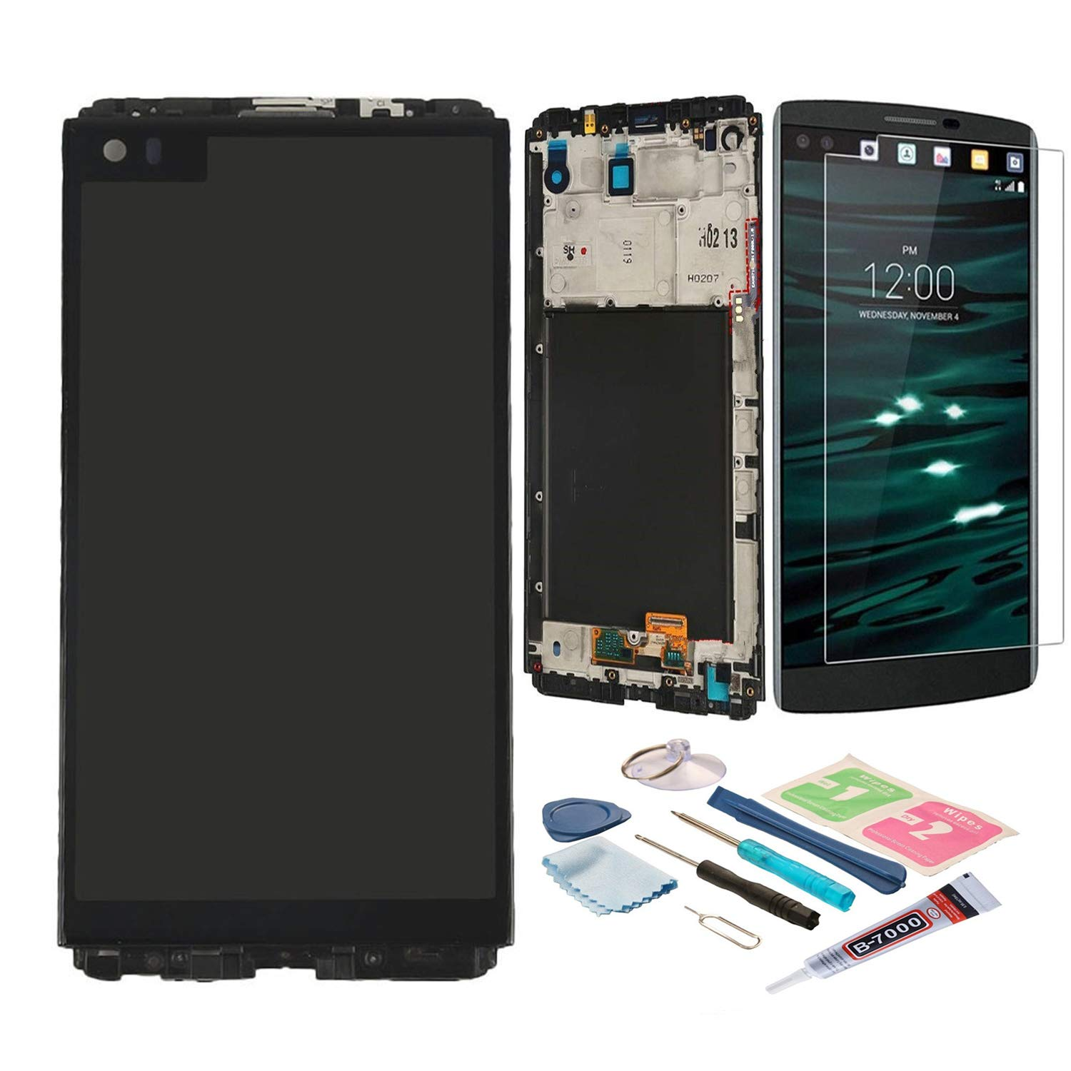 XR MARKET Compatible LG V20 Screen Replacement, LCD Display Touch Screen Glass Digitizer Assembly, for LG LS997 US996 VS995 H918 H990 H910 H915 H990DS H990TR F800L(Black W/Frame)