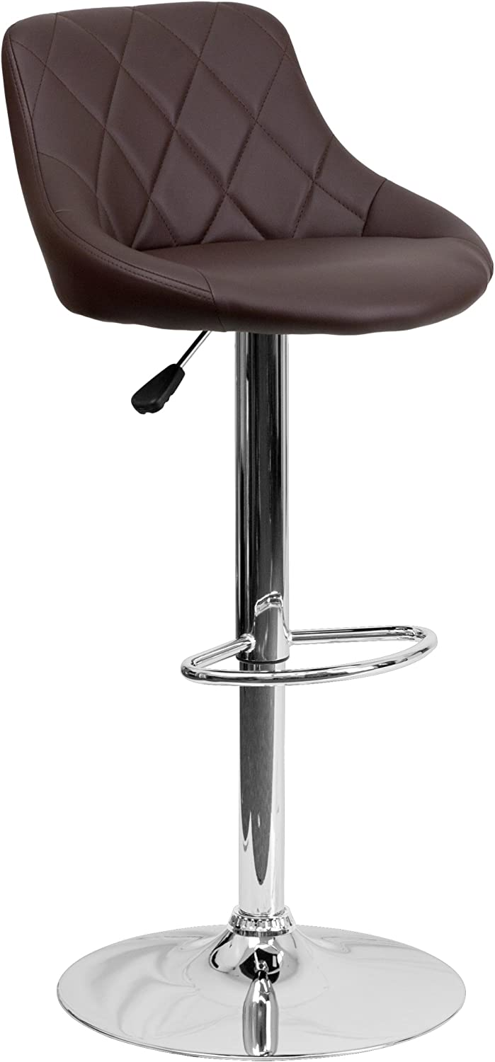 Flash Furniture Contemporary Brown Vinyl Bucket Seat Adjustable Height Barstool with Diamond Pattern Back and Chrome Base