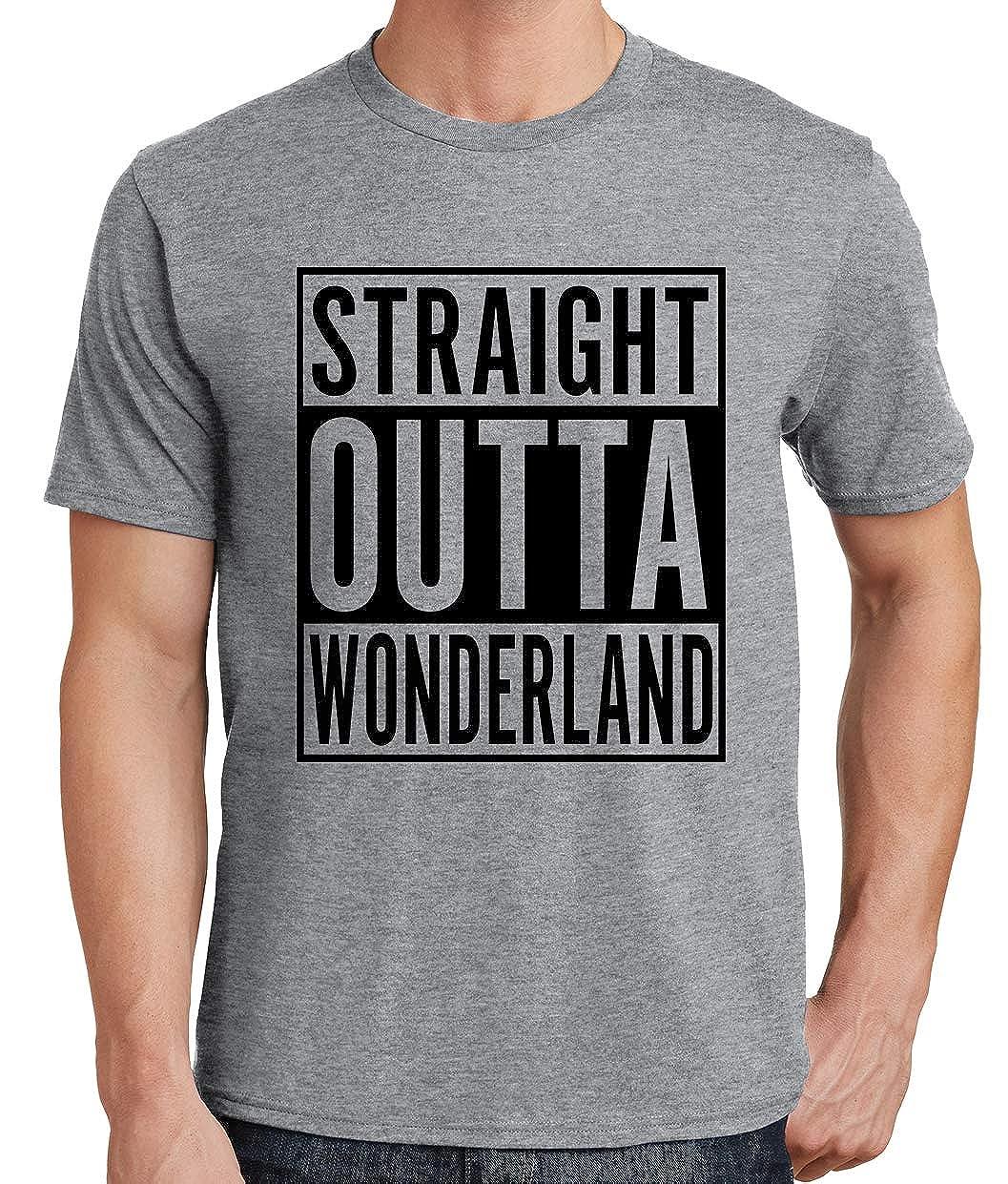 Tenacitee Mens Straight Outta Wonderland T-Shirt