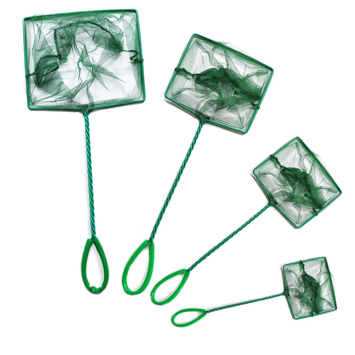 NGe 4Pcs Aquarium Fish Net Small Nylon Fishing Nets with Plastic Handle for Fish Tank 8inch/6inch/5inch/4inch, Green