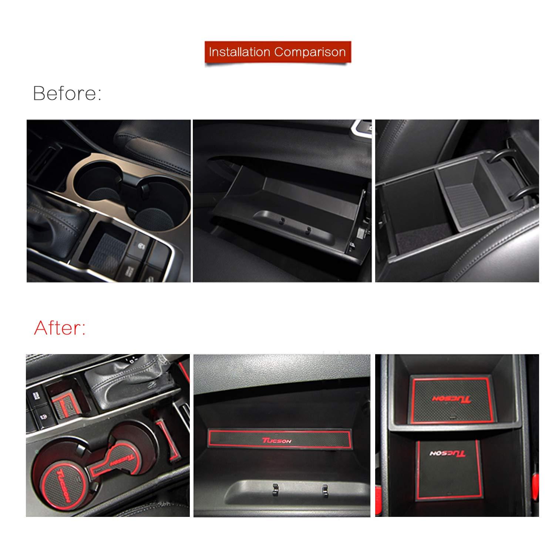 Anti-dust RUIYA Non-Slip Car Interior Door Cup Arm Box Storage Mat Pad for 2015-2018 Tucson Door Slot Pad,Cup Mat,Automotive Decoration with LOGO