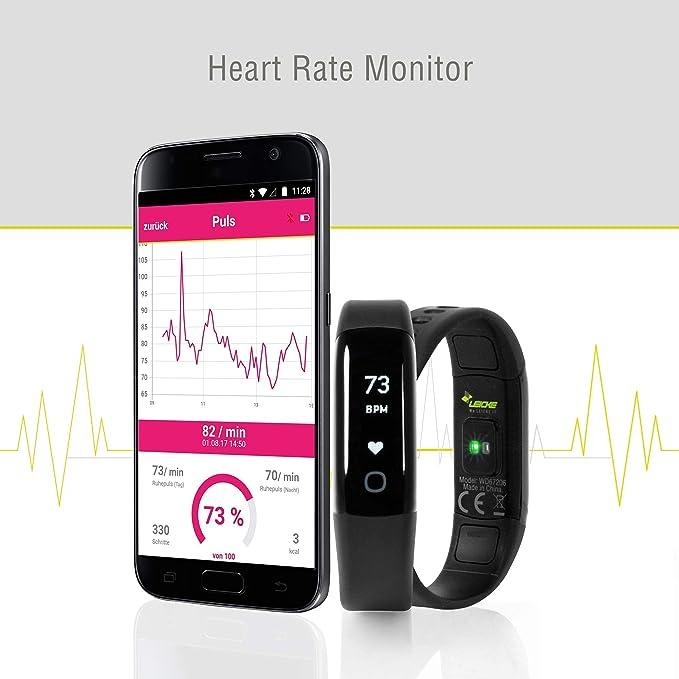 Sharon Wellsmart Cardio Sport - Pulsera Reloj Inteligente Fitness Tracker, Monitor de Sueño, Bluetooth Ritmo Cardíaco, Impermeable, Compatible con Apple ...