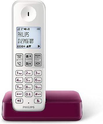 Philips D2301WP - Teléfono inalámbrico con Pantalla iluminada de 4.6 cm, 16hrs conversación, Blanco y Morado: Amazon.es: Electrónica