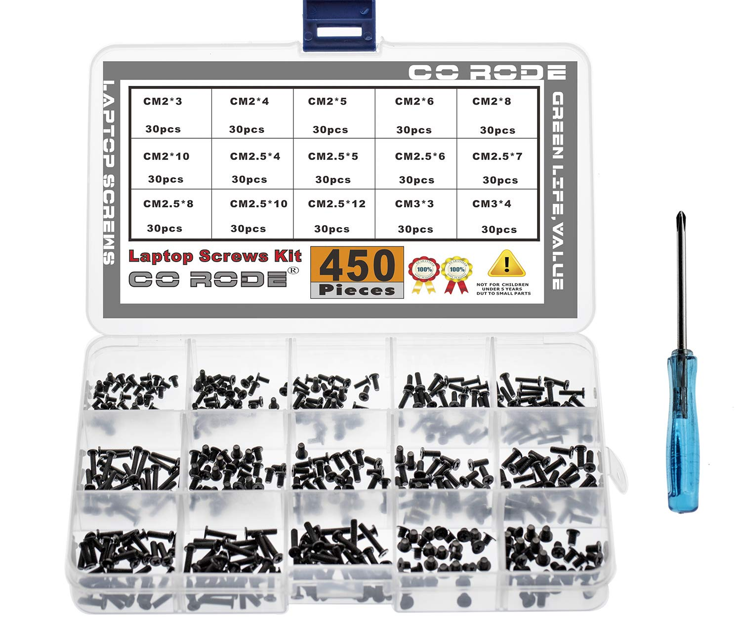 CO-RODE 450pcs M2 M2.5 M3 Laptop Computer Screws Kit Set for SSD IBM HP Dell Lenovo Samsung Sony Toshiba Gateway Acer Hard Drive SATA, (15-Size)