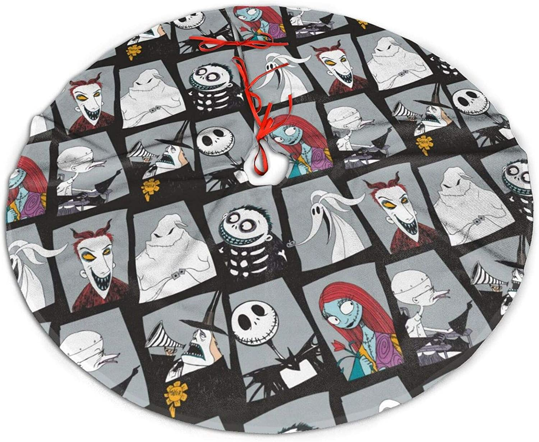 HUADIZ Nightmare-Before Christmas Tree Skirt for Christmas Halloween Holiday Party Decoration 30