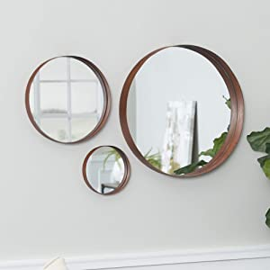 WE Furniture Copper Round Wall Mirror Set, Set of 3