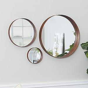 WE Furniture Copper Round Wall Mirror Set, Set of 3