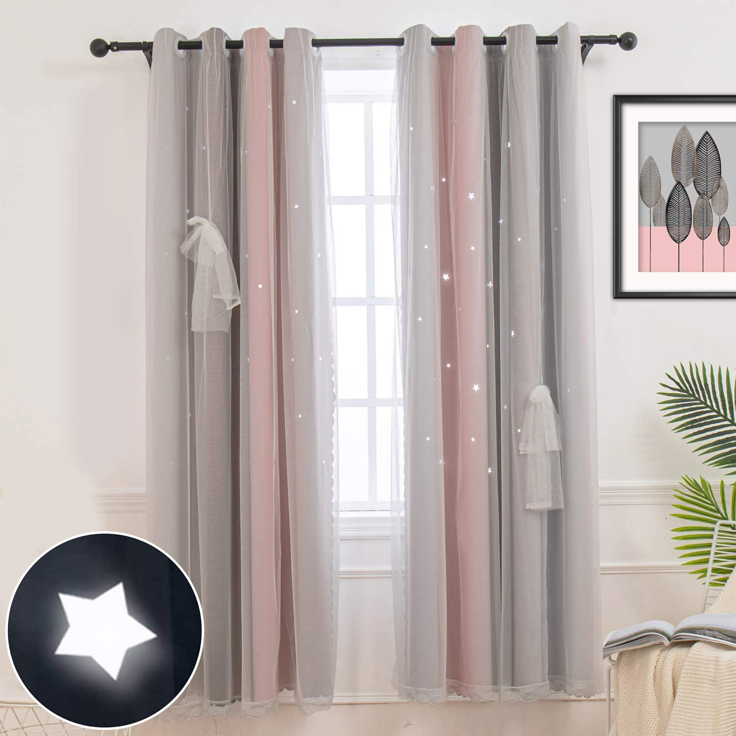 Amazon Com Hughapy Star Curtains Stars Blackout Curtains For Kids Girls Bedroom Living Room Colorful Double Layer Star Cut Out Stripe Window Curtains 1 Panel 52w X 63l Pink Grey Home Kitchen