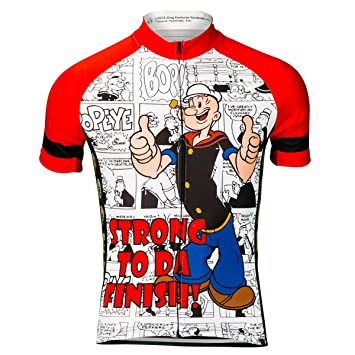Brainstorm Gear Men s Popeye Strong to da Finish Cycling Jersey - PPSF-M ( Red 13e22b845