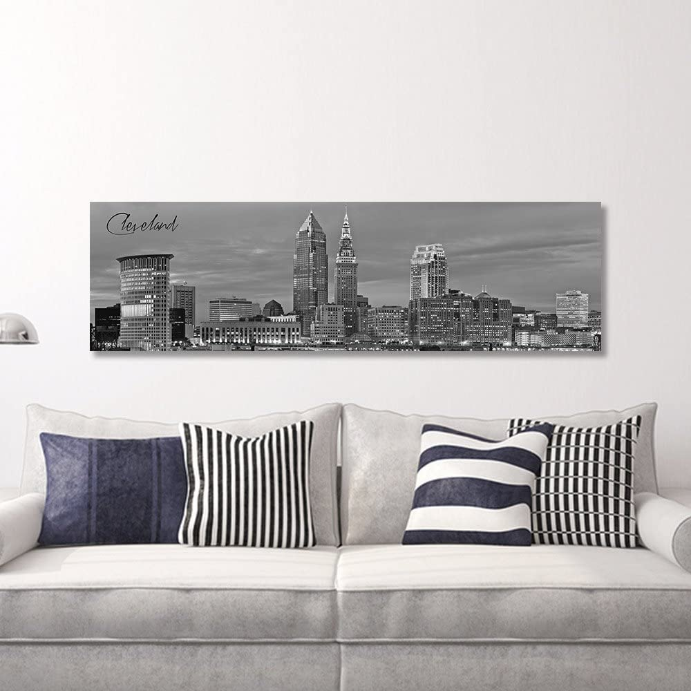 """WallsThatSpeak Panoramic Cleveland Cityscape Picture, Black and White Stretched Canvas Art Prints, Wall Decoration for Bedroom or Office, Framed and Ready to Hang, 14"""" x 48"""""""