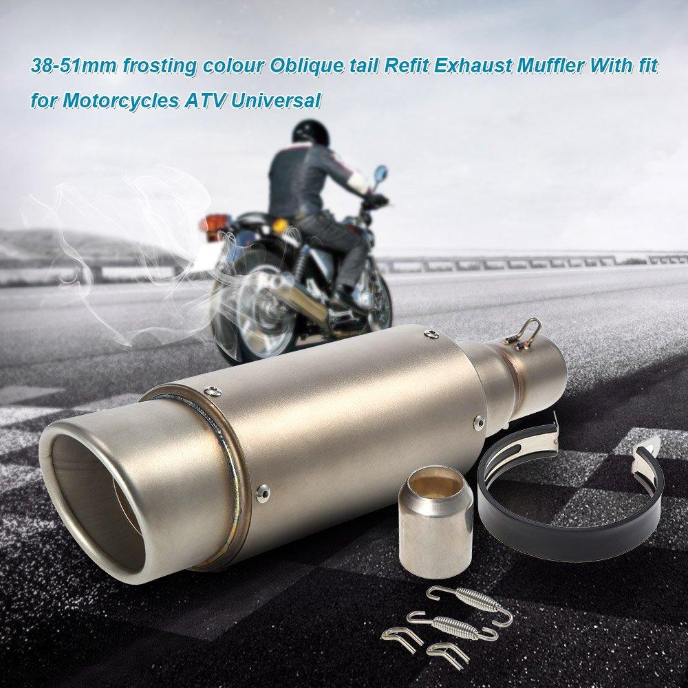 KKmoon 38-51mm /échappement Tuyau Silencieux avec Adapt/é Couleur de Gla/çage Oblique Queue Remonter Refit pour Moto VTT
