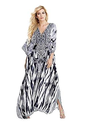 La Moda Clothing Black   White Contemporary V-Neck Long Kaftans for Women  19a8d0f3f