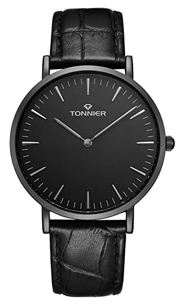 Tonnier Stainless Steel Slim Men Watch Quartz Watch Black Face (Black Leather)