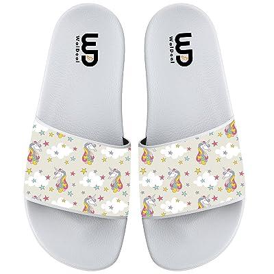 Colored Unicorn With Stars Slide Sandal For Men's Women Soft Bathroom Shower Beach