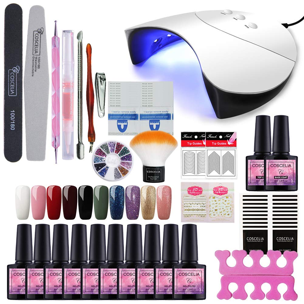 Fashion Zone 10 Colors Soak Off Gel Polish Starter Kit 36W LED UV Nail Dryer Curing Lamp Manicure Nail Tool by Fashion Zone