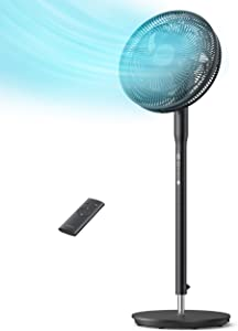 TaoTronics Pedestal Fan, Oscillating Standing Fan with Remote Control, Quiet 9 Speed Levels 9-Hour Timer 3 Wind Modes 14-inch Adjustable Height, Electric Cooling Floor for Bedroom and Home Indoor Use