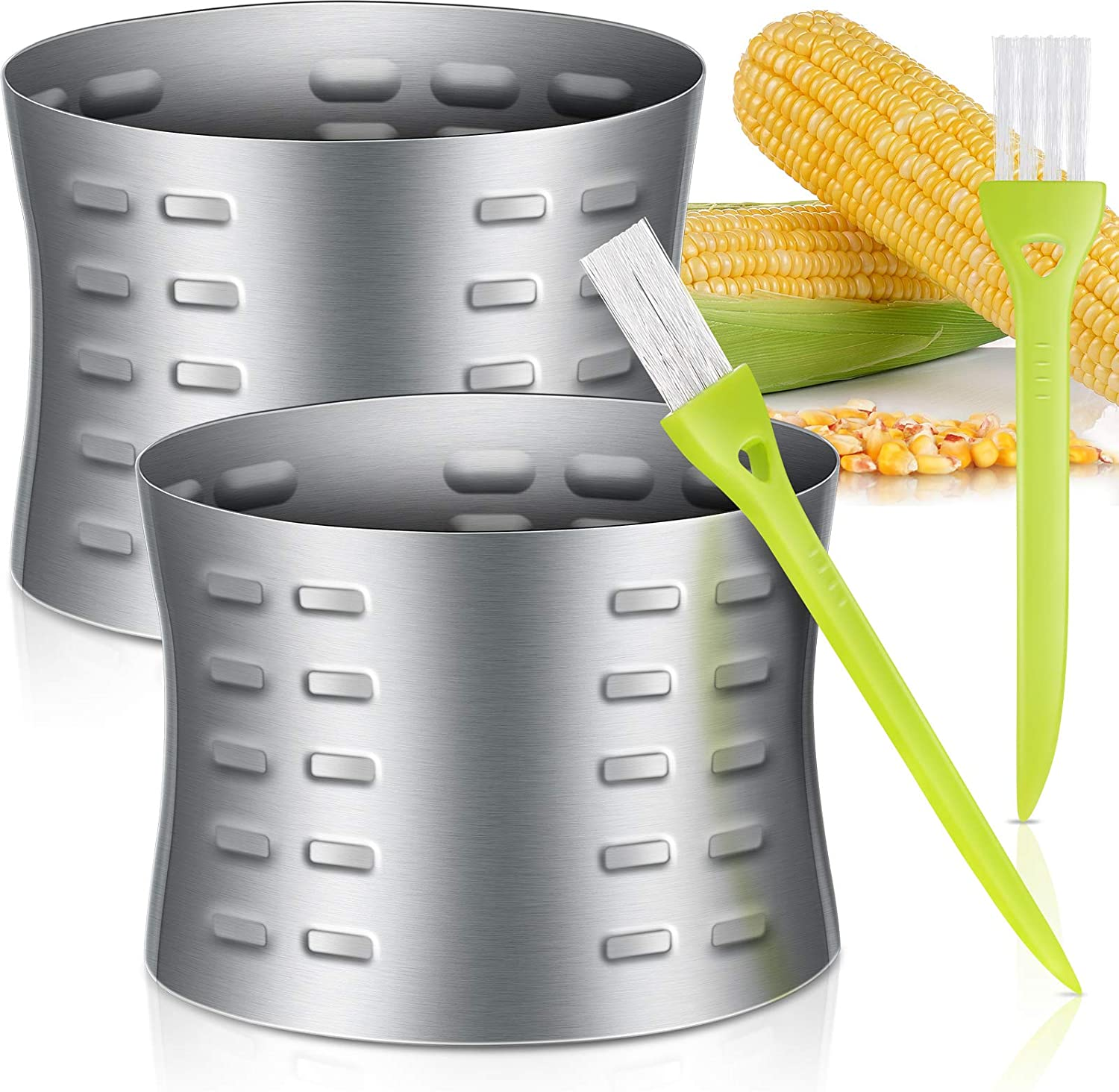 2 Pieces Corn Stripper Cutter Stainless Steel Corn Thresher Slicer Corn Stripping Tool with 2 Pieces Cleaning Brushes for Home Kitchen Use