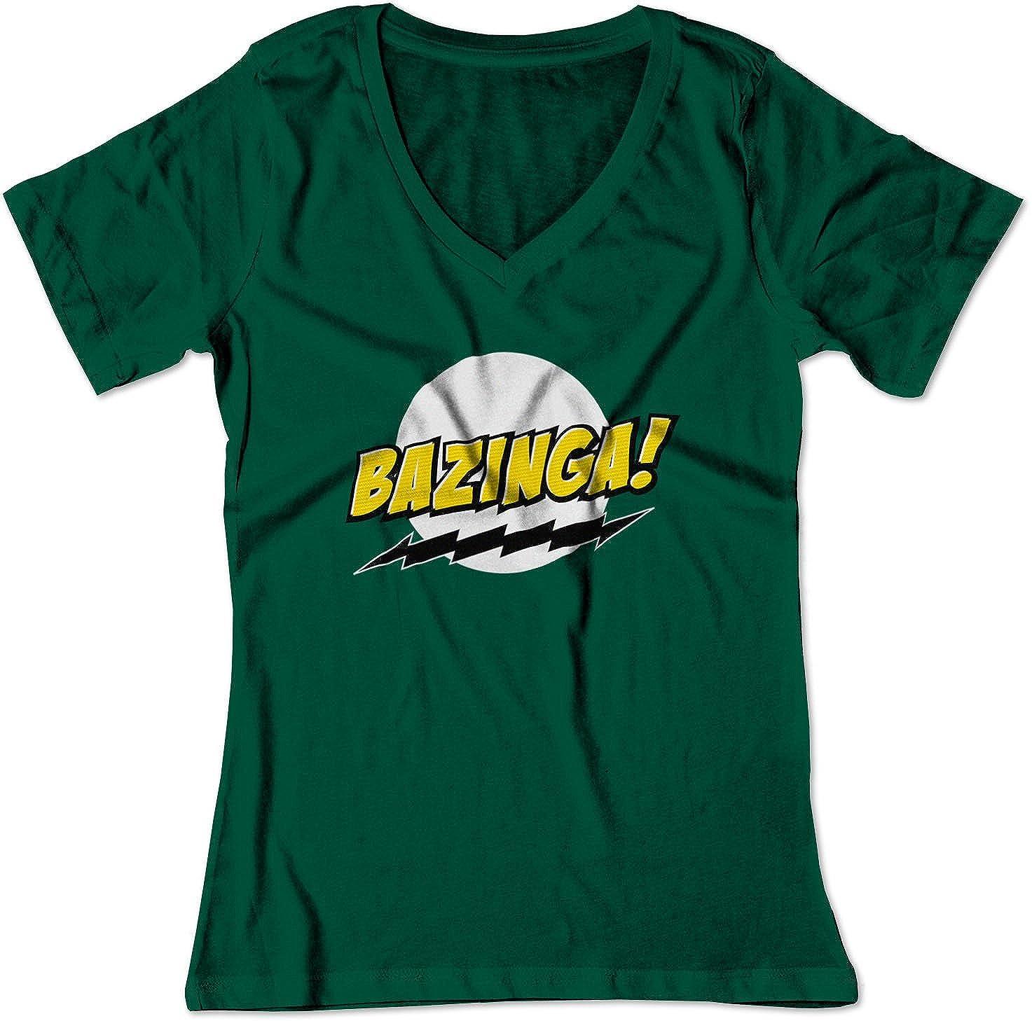 e763aa9f Amazon.com: BSW Women's Bazinga! Big Bang Theory Sheldon Cooper V-Neck Shirt:  Clothing