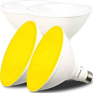 AmeriLuck Colored Outdoor PAR38 LED Flood Light Bulb, 13W (Yellow, 4 Pack)